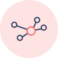icon: main sphere with four nodes